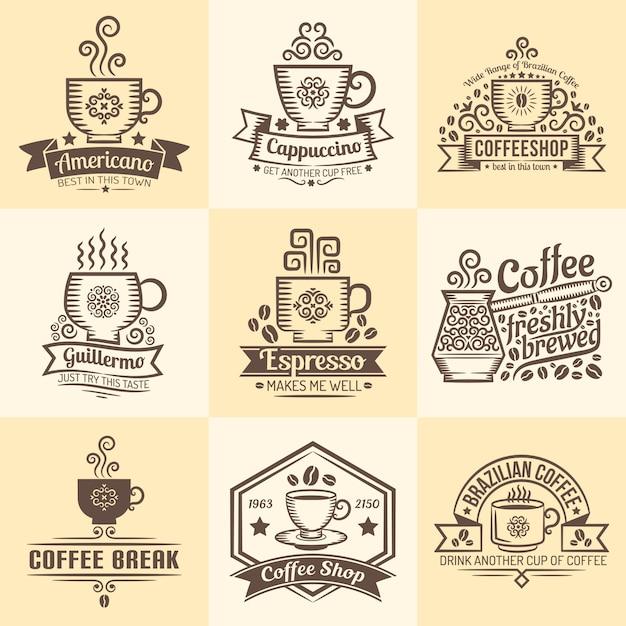 喫茶店のビンテージエンブレム。レトロなスタイルのコーヒーのマグカップとロゴ。 Premiumベクター
