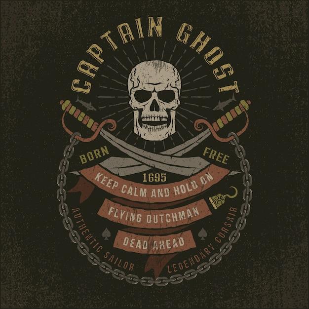 Капитан призрак - череп гранж пиратский логотип Premium векторы