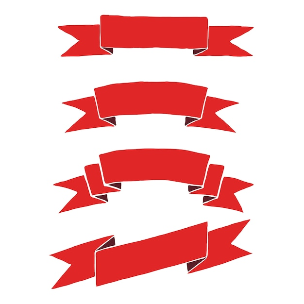 Красные праздничные ленты для гербов, логотипов, эмблем. ретро баннеры раскрашены вручную. Premium векторы