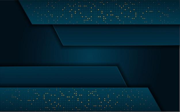 Современный темно-синий фон с блеском, золотой блеск Premium векторы
