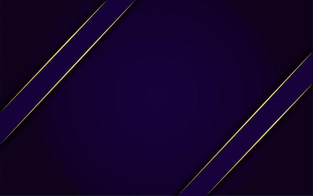 Современный темно-синий фон с блеском, золотой линией Premium векторы
