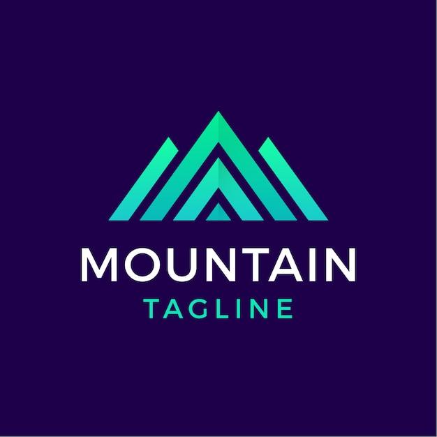 モダンなスタイルの山の幾何学的なロゴ Premiumベクター