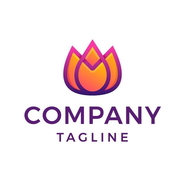 Современный тюльпан цветок градиент логотип Premium векторы