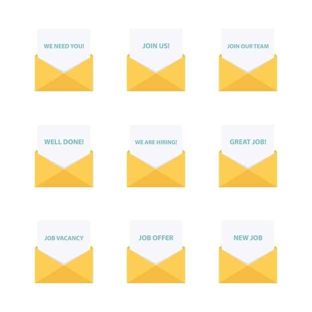 ビジネスメール。ビジネスレターコレクション。ビジネスメッセージ。 Premiumベクター
