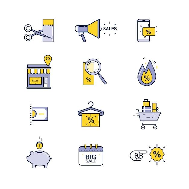 Набор иконок для продажи и покупки Premium векторы