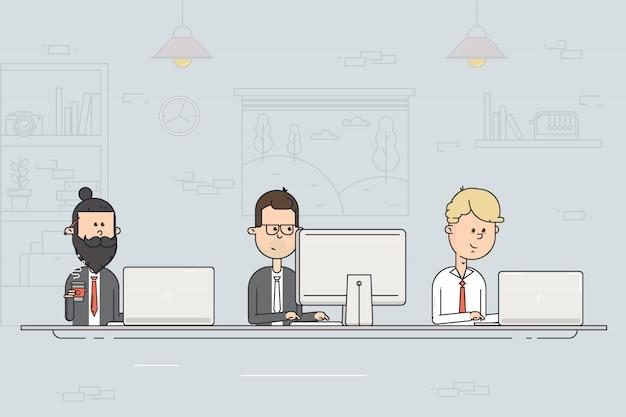 コワーキングセンター。ビジネスミーティング。チームワーク。オープンオフィスのコンピューターで働く人々。フラットなデザインのベクトル図。 Premiumベクター