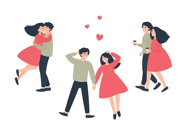 涼しい日に散歩に愛情のあるカップルのセット Premiumベクター