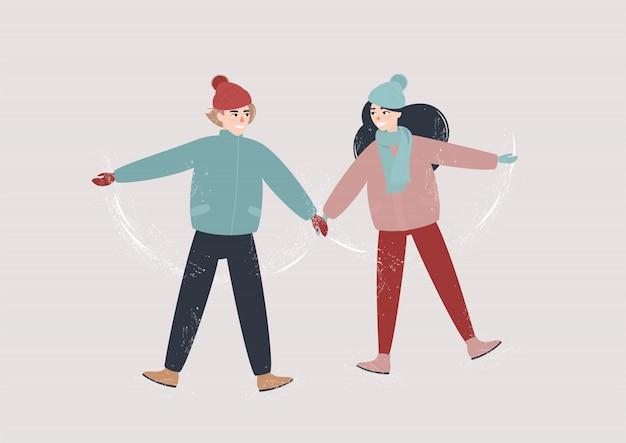 愛のカップルは雪の中にあり、お互いの手を握る Premiumベクター