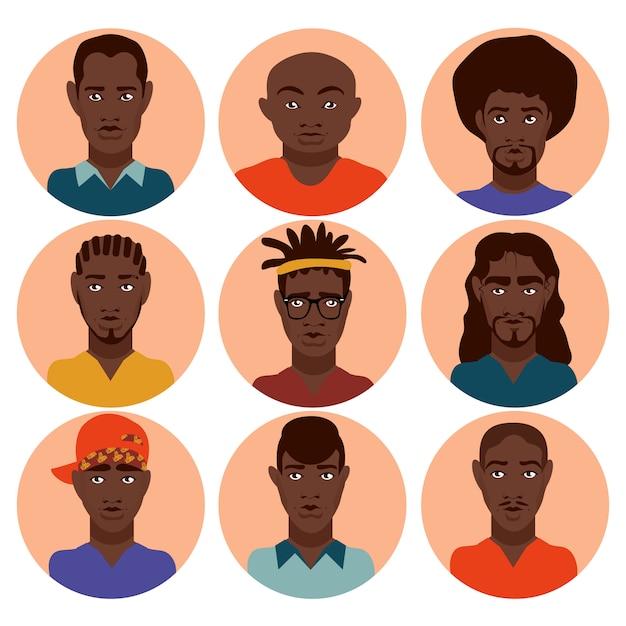 さまざまなヘアスタイル、十代の若者たち、成人男性、さまざまな職業のキュートで美しいスタイリッシュなアフリカ系アメリカ人男性を設定する Premiumベクター