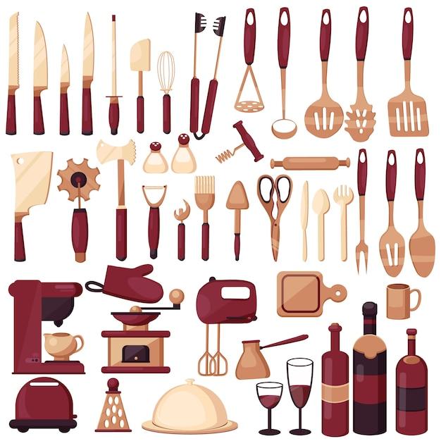 調理器具をセットします。キッチン、料理、キッチン技術、味、おいしい。コーヒーメーカー、ミキサー、ナイフ、スプーン、フォーク、スクープ、はさみ。 Premiumベクター