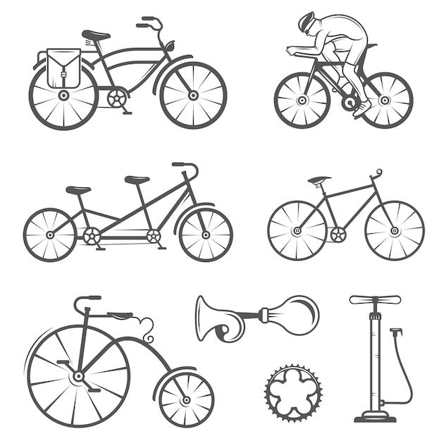 ビンテージサインとシルエット自転車とサイクリングスポーツの設定 Premiumベクター