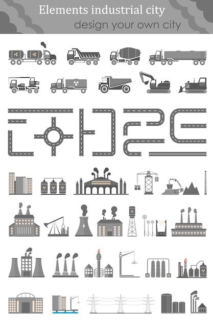 工業都市の地図のセット Premiumベクター