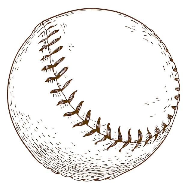 Иллюстрация гравировки бейсбольного мяча Premium векторы