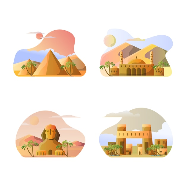 エジプトの国の観光地のベクトルイラスト Premiumベクター