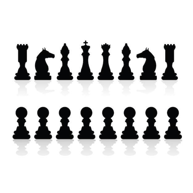 チェスの駒のシルエット 無料ベクター