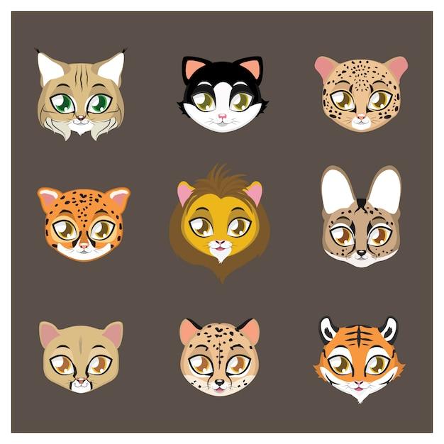 Коллекция кошачьих животных Бесплатные векторы