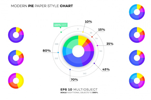 現代の紙スタイルの円グラフ。 Premiumベクター