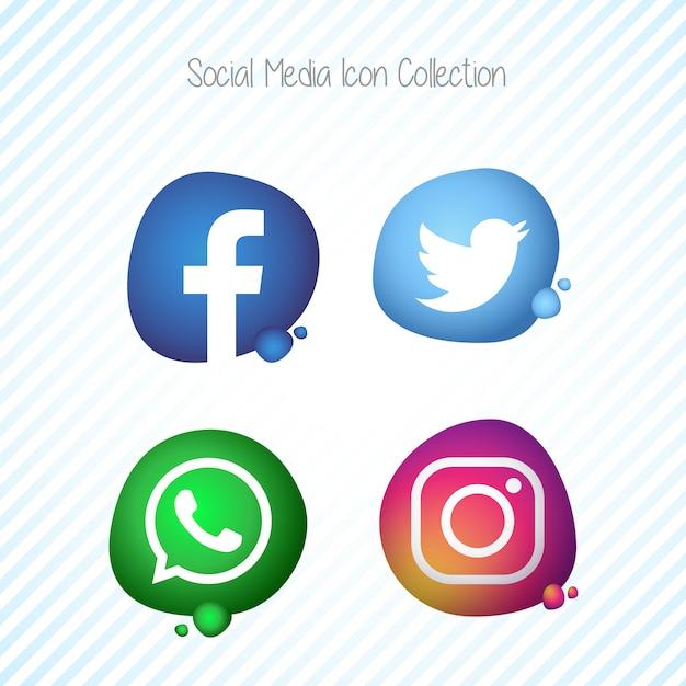 クリエイティブメンフィス流体ソーシャルメディアのアイコンセット 無料ベクター