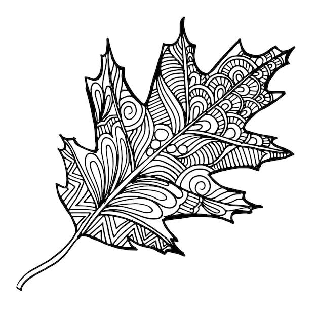Листочки осенние картинки черно белые