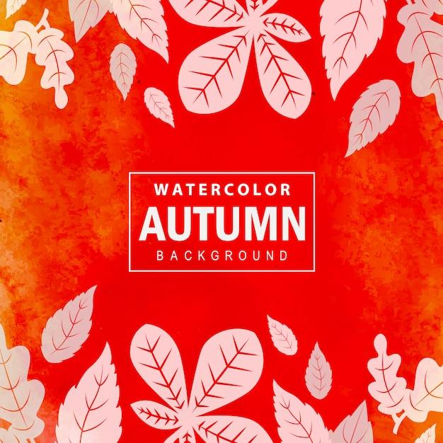 カラフルな水彩秋の背景 無料ベクター