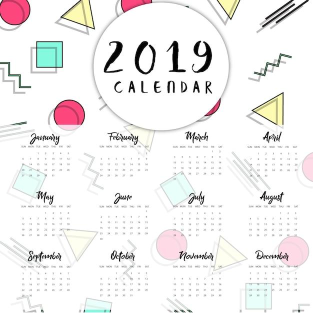 ベクターメンフィス新年カレンダー Premiumベクター