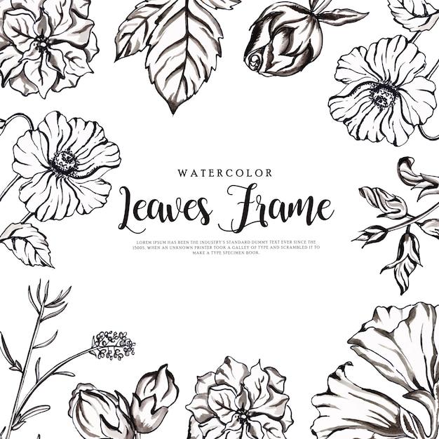 美しい水彩画の黒と白の花のフレーム Premiumベクター