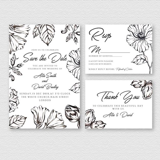 黒と白の水彩花の結婚式の招待カード Premiumベクター