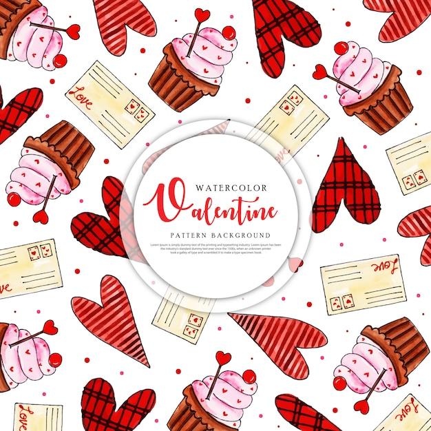 Красочная акварель валентина шаблон фона Premium векторы
