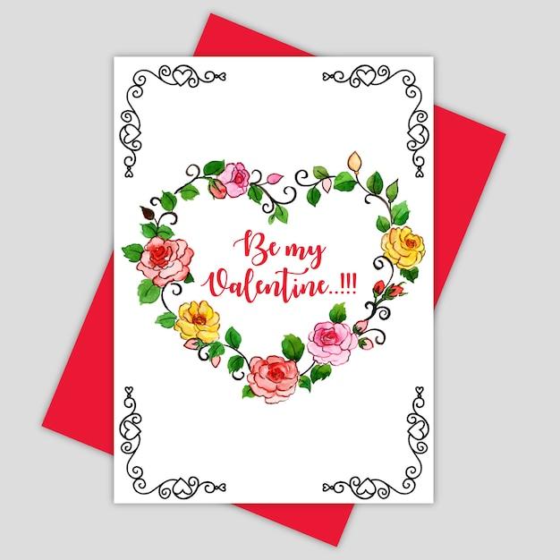Акварель валентина поздравительная открытка Premium векторы