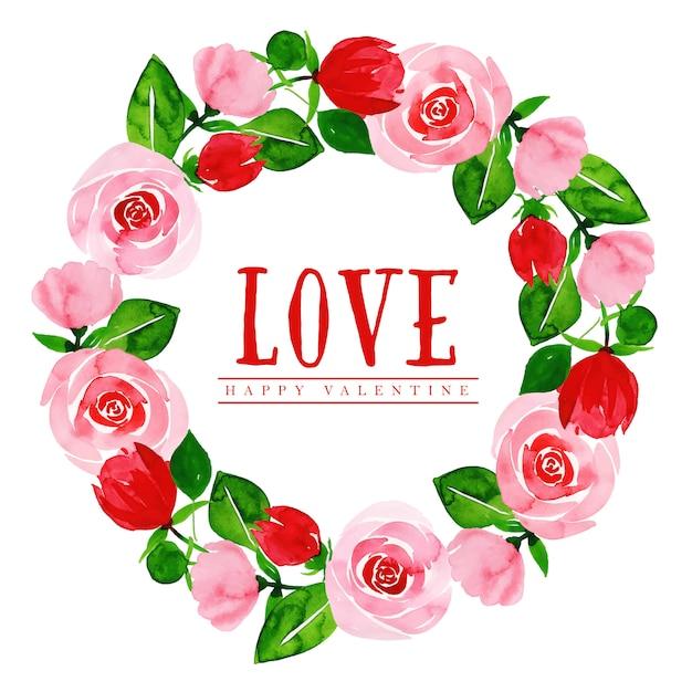 水彩バレンタインフローラルリース Premiumベクター