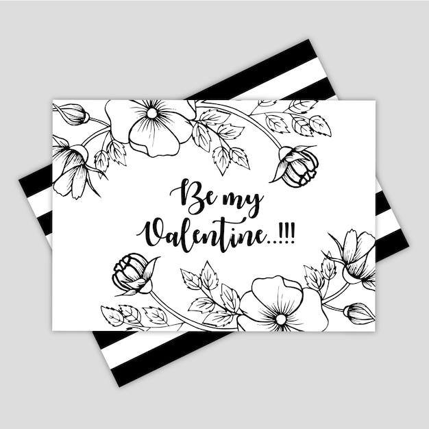手描きのバレンタイングリーティングカード Premiumベクター