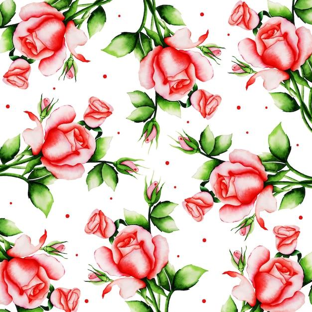 水彩バレンタイン花の背景 Premiumベクター