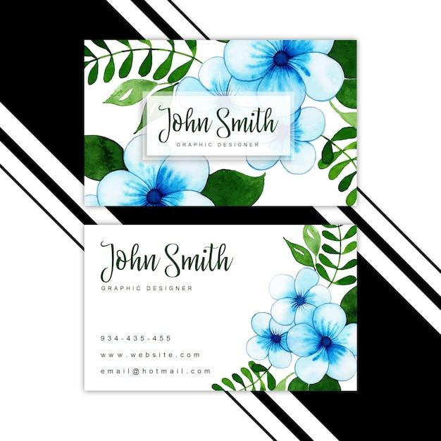 水彩花訪問カード Premiumベクター