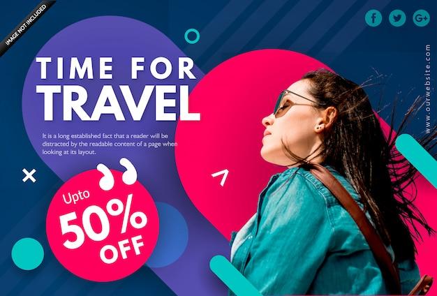 Шаблон баннера летних каникул - время для путешествий Premium векторы