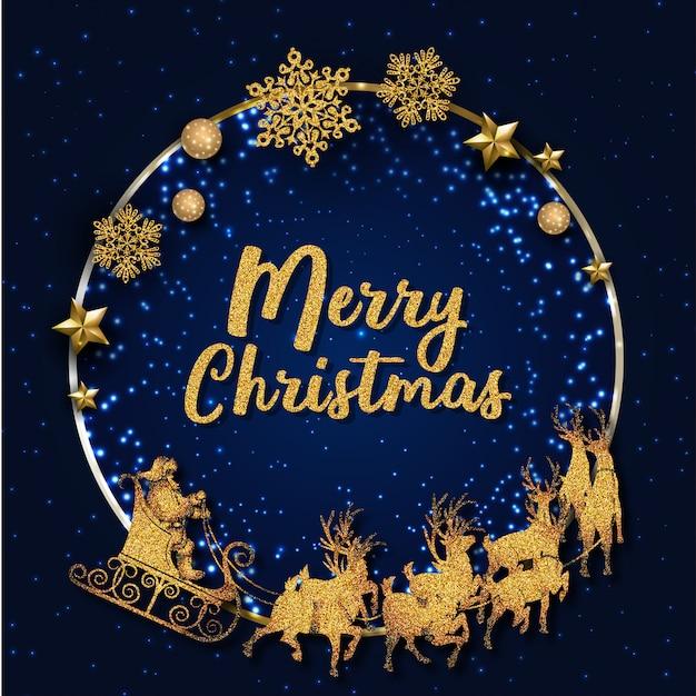 青と金色のメリークリスマスグリーティングカード Premiumベクター