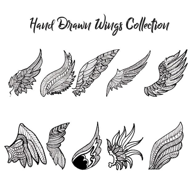 手描きの黒と白の翼コレクション 無料ベクター