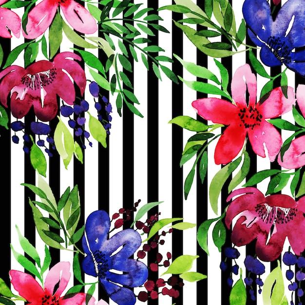 水彩花フレーム多目的背景 無料ベクター