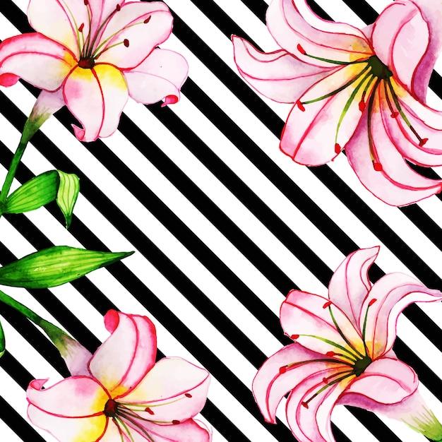 ストライプの水彩花の背景 Premiumベクター