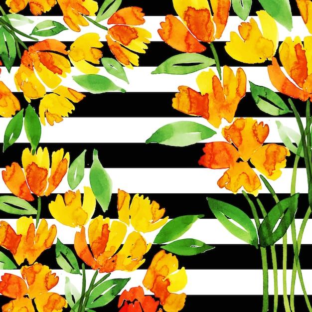 水彩画の花の多目的背景 Premiumベクター