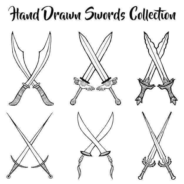 Коллекция ручных мечей Бесплатные векторы