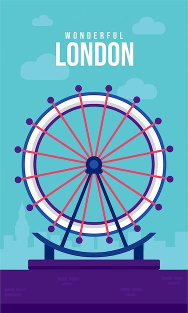 Лондонский глаз плоский плакат иллюстрация Premium векторы