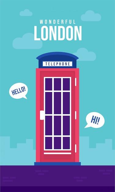 Телефонная будка плоский плакат иллюстрация Premium векторы