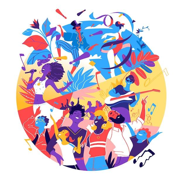 Плакат для фестиваля, торжества, праздничной вечеринки. группа людей, которые рады быть вместе, празднуя особое событие Premium векторы