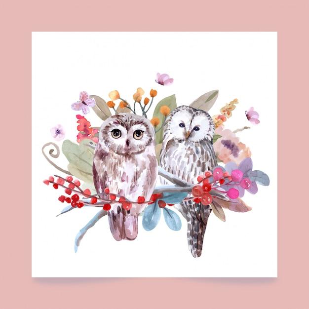 フクロウの水彩風の手描きの野生動物セット。 Premiumベクター