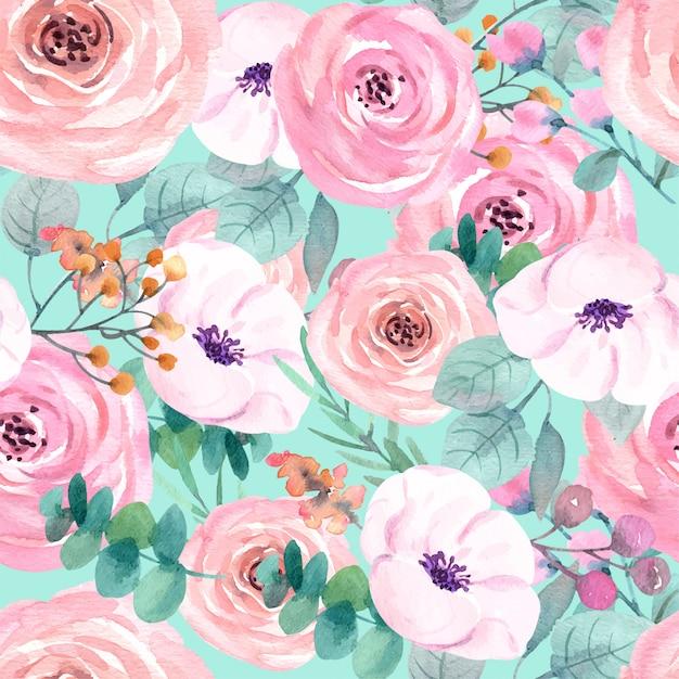 壁紙プレミアムのバラのシームレスパターン Premiumベクター