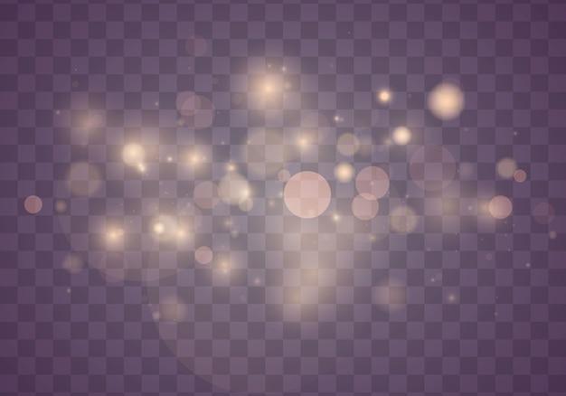 光の抽象的な光るボケ味が点灯します。透明な背景に分離されたボケライト効果。お祝いの紫と金色の明るい背景。クリスマスのコンセプト。 Premiumベクター