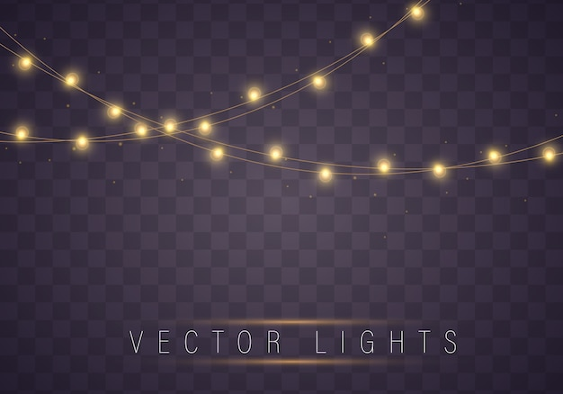 Желтые рождественские огни изолированные реалистичные элементы. Premium векторы