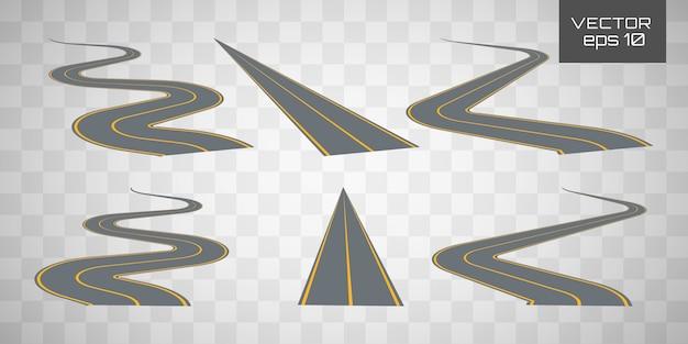 曲がりくねった曲がりくねった道路または高速道路。 Premiumベクター