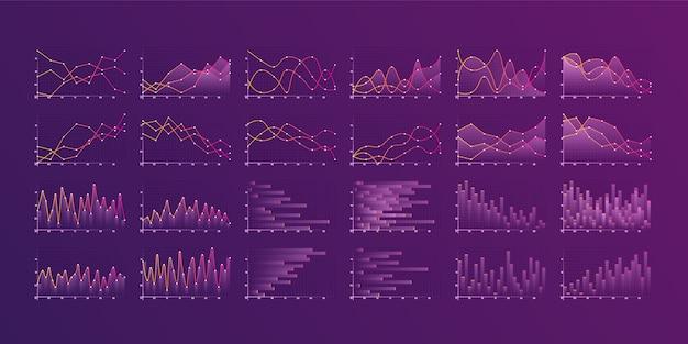 さまざまなグラフとチャートのセット。インフォグラフィックと診断、チャートとスキーム。 Premiumベクター