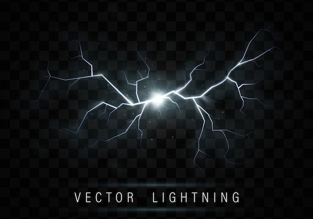 Реалистичный блестящий эффект вспышки молнии Premium векторы